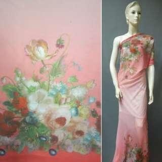 Шифон рожевий, 2-ст. купон квіти ш.148