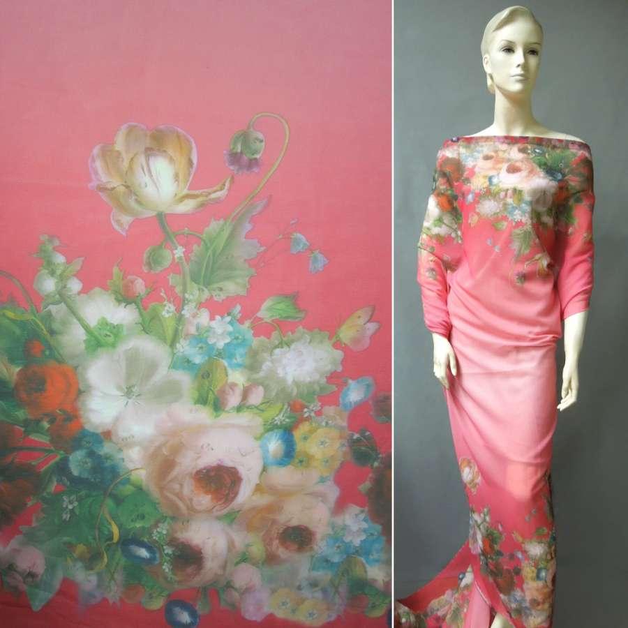Шифон ярко-розовый, 2-ст. купон цветы ш.149