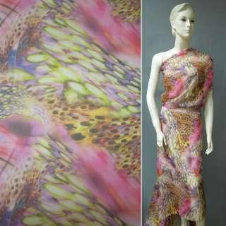 Шифон розовый с коричнево-салатными перьями ш.146