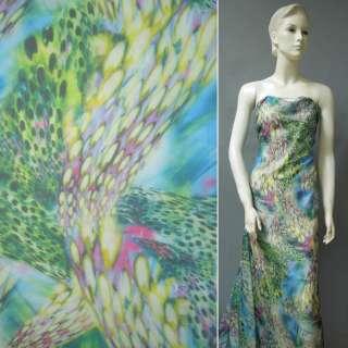 Шифон зелено-голубой с розово-малиновыми перьями ш.146