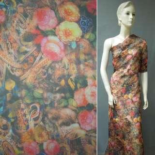 Шифон коричневий з рожево-лимонними квітами і огірками ш.146