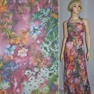 Шифон вишневий з різнокольоровими квітами ш.150