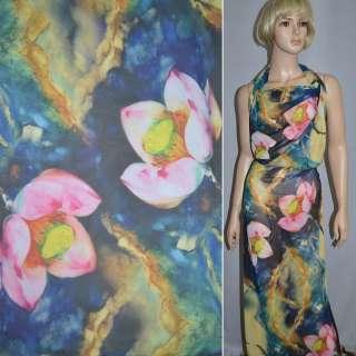 Шифон жовто-синій з рожево-зеленими квітами ш.150