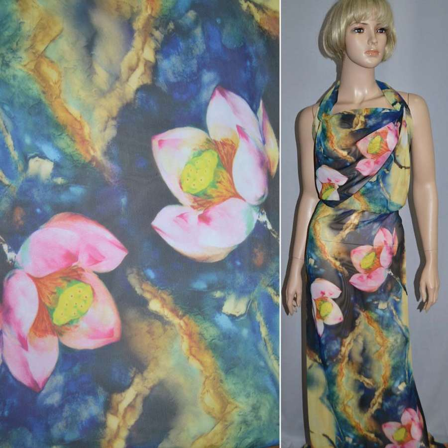 Шифон желто-синий с розово-зелеными цветами ш.150