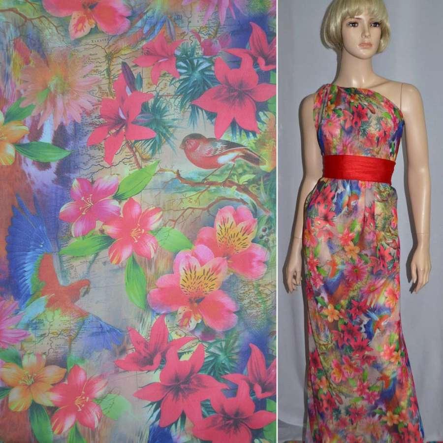 Шифон дымчато-розовый с цветами и птицами ш.150