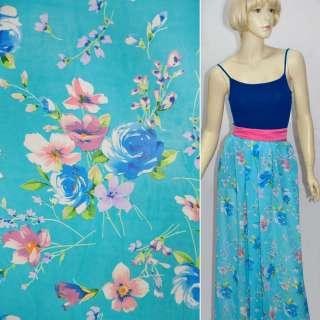 Шифон голубой с синими цветами