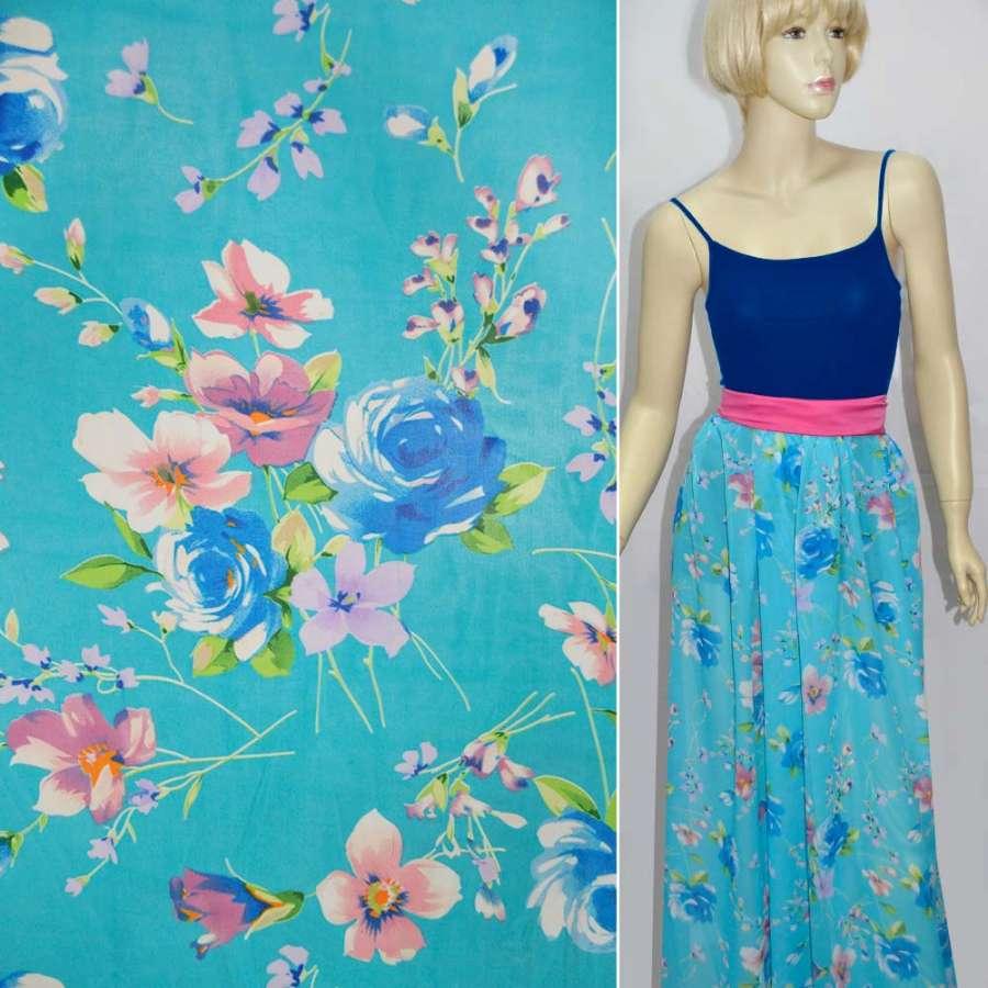 Шифон блакитний з синіми квітами