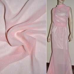 Шифон бледно-розовый в белый горох