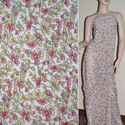 Шифон бледно-розовый с цветами