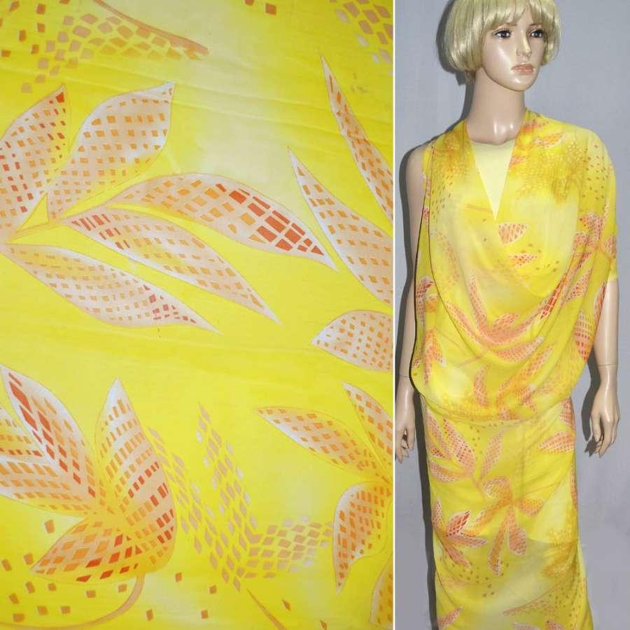 Шифон ярко-желтый с оранжевыми кубиками ш.150
