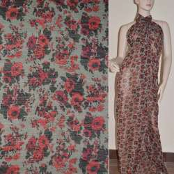 Шифон серый с мелкими красными розами ш.140