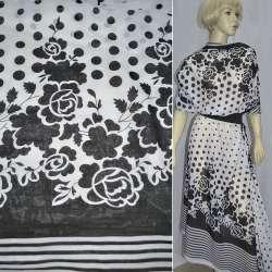 Шифон белый с черными цветами купон ш.150