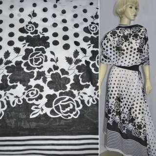 Шифон білий з чорними квітами купон ш.150