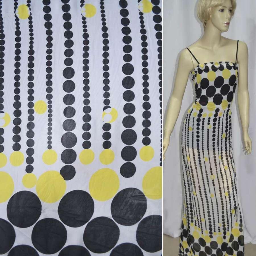 Шифон белый с черными и желтыми кругами купон ш.150