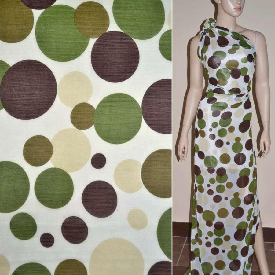 Шифон белый с зелеными и коричневыми кругами купон ш.150