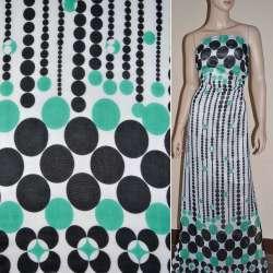 Шифон белый с зелеными и черными кругами купон ш.150