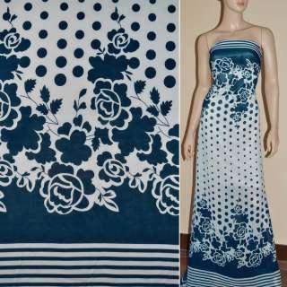 Шифон синий с белыми цветами купон ш.150