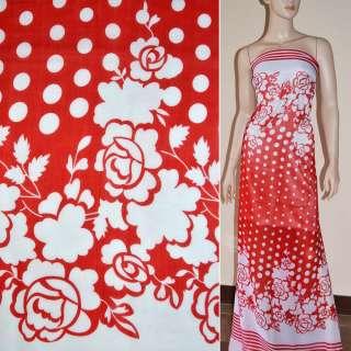 Шифон красный с белыми цветами купон ш.150
