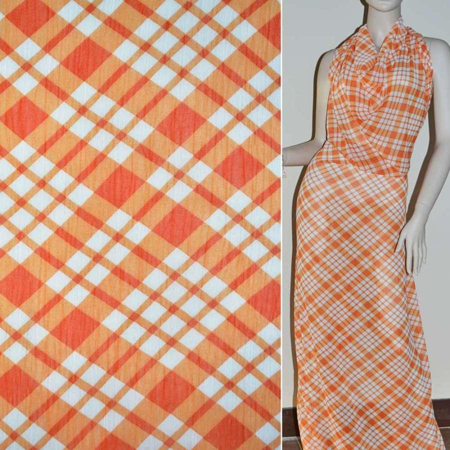 Шифон оранжевый в белые и оранжевые квадраты ш.150
