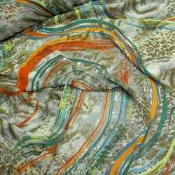 Шифон хаки в оранжевые и зеленые полосы росчерки ш.150
