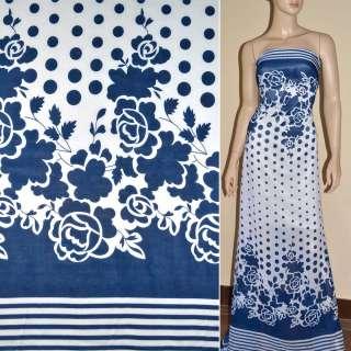 Шифон білий в сині квіти, горох, смуги купон ш.150
