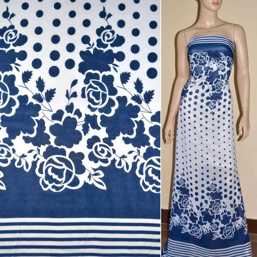Шифон белый в синие цветы, горох, полосы купон ш.150