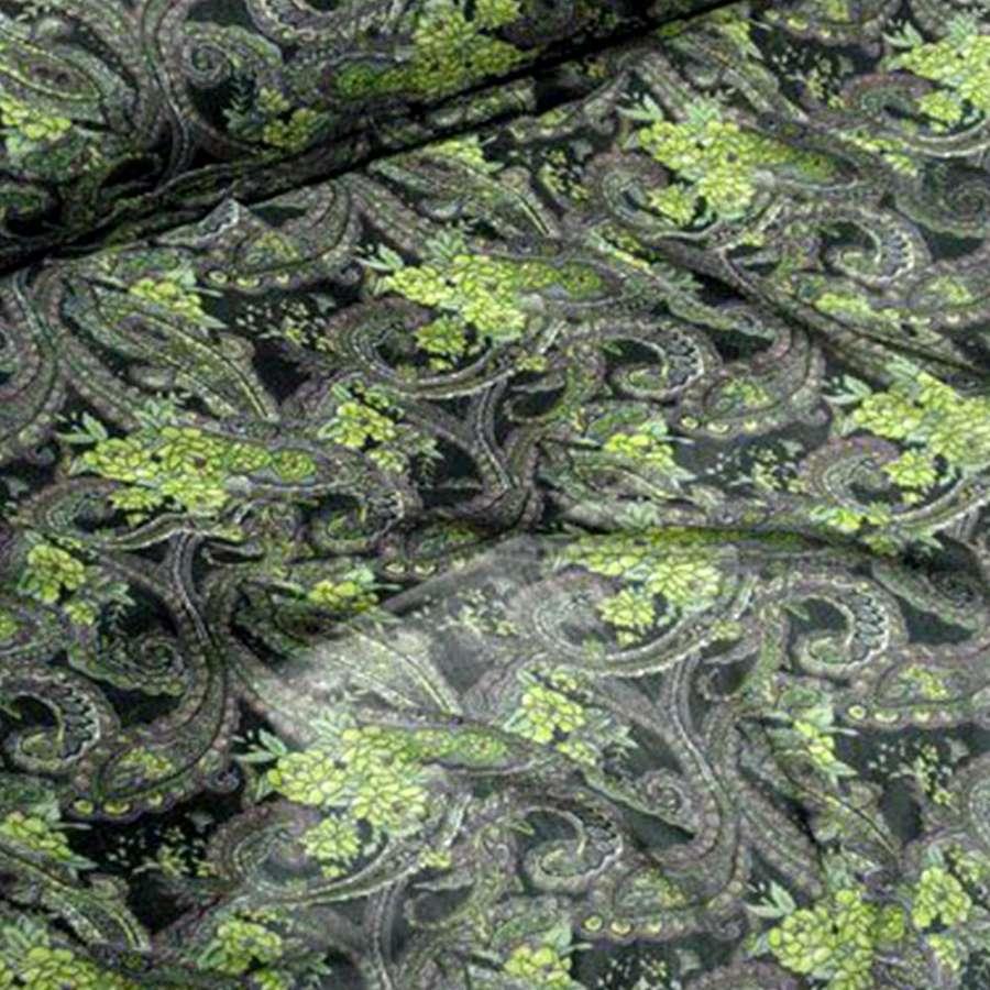 Шифон черный в зеленые и фиолетовые огурцы ш.150