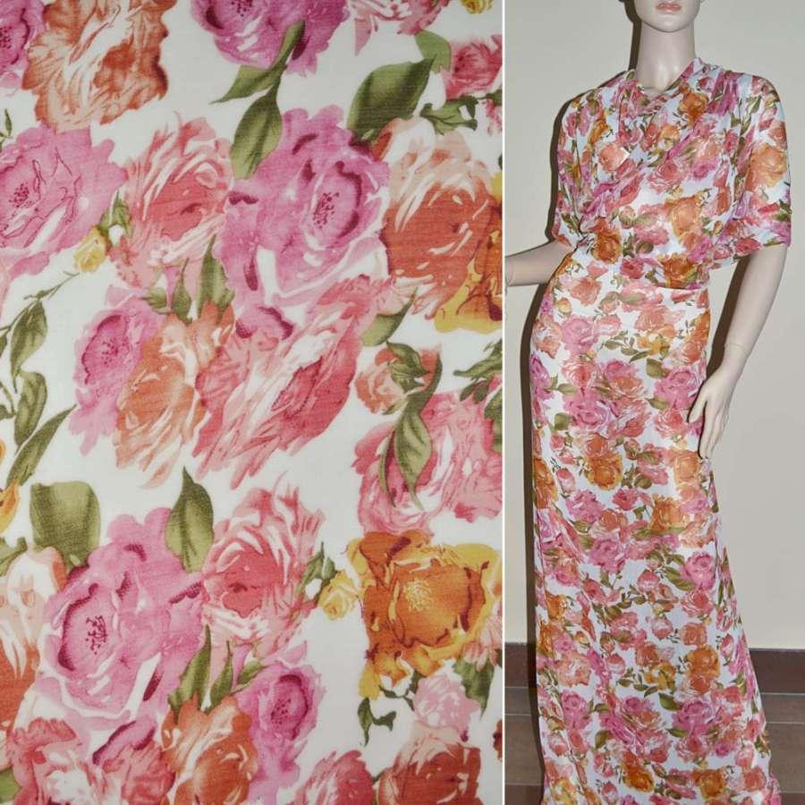 Шифон белый в розовые и оранжевые розы ш.150