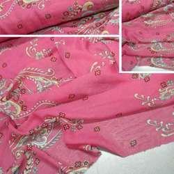 Шифон розовый с желто-зеленым купоном ш.150