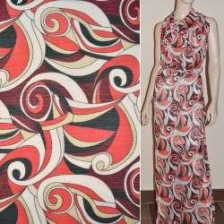 Шифон белый с бордово-черной абстракцией ш.150