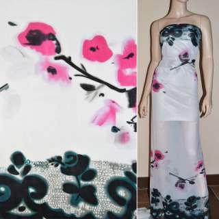 Шифон білий з 2-ст. чорним купоном і рожевими квітами ш.150