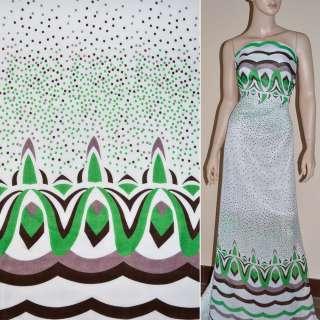 Шифон білий з 2-ст. зеленим купоном в горох ш.150