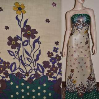 Шифон бежевий з 2-ст. зеленим купоном і коричневими квітами ш.150