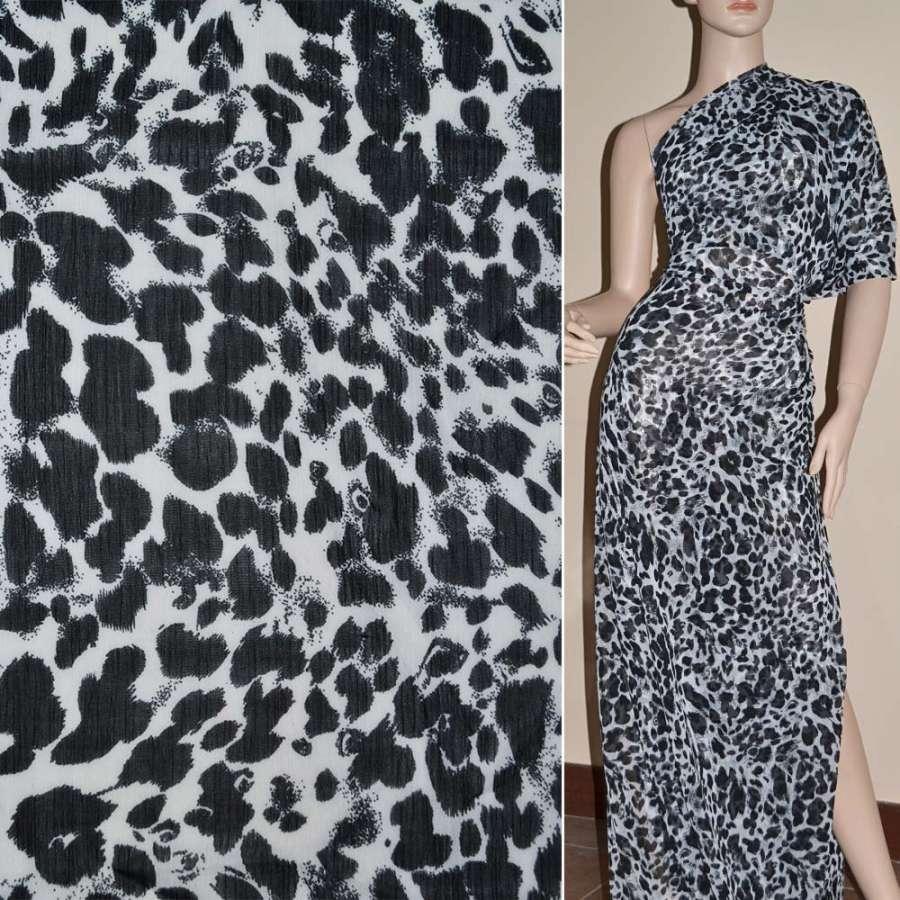 Шифон белый с черным принт леопард ш.140