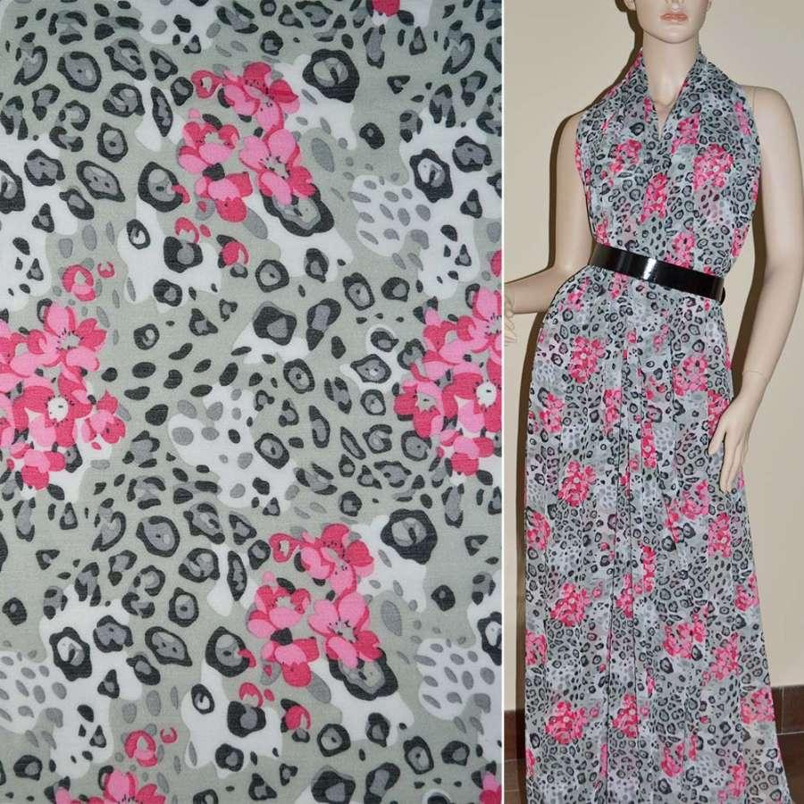 Шифон белый с серым леопард +бордовые цветы ш.140