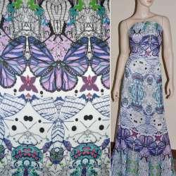 Шифон белый в разноцветные бабочки ш.150