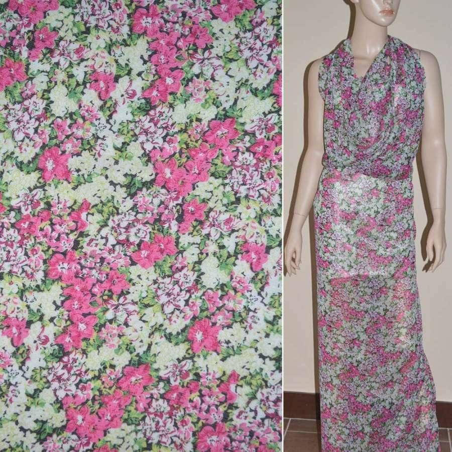 Шифон молочно-салатовый в розовые цветы ш.150