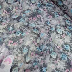 Шифон серый в розово-голубой цветок ш.150