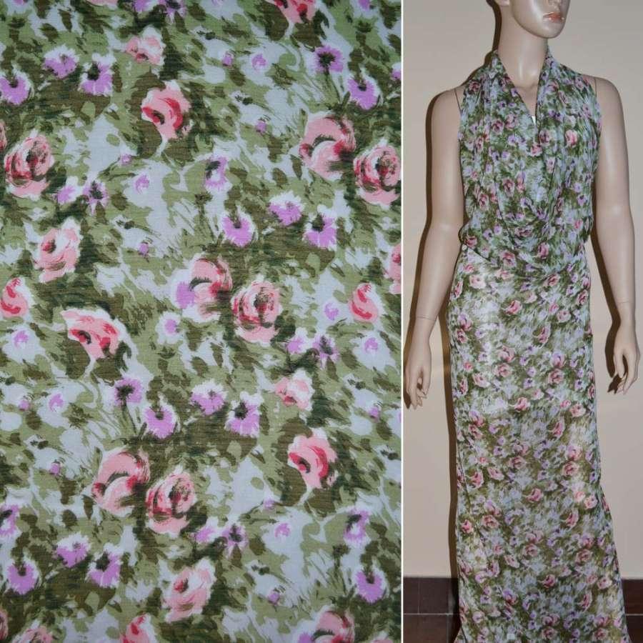 Шифон белый в зелень и фиолетовый цветок ш.150