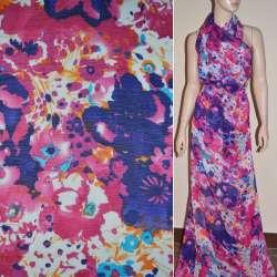 Шифон белый в фиолетово-малиново-бирюзовые цветы ш.150