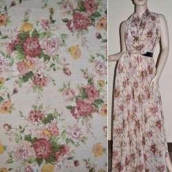Шифон персиковый в розовые цветы ш.150