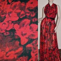 Шифон чорний в червоні квіти ш.145