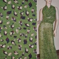 Шифон зеленый с черно-бежевыми птицами и перьями ш.150