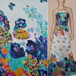 Шифон кремовый с 2-ст. купоном бирюзово-черными цветами и бабочками ш.150