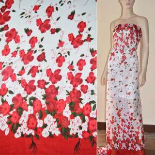 Шифон белый, 2-ст. купон красные цветы ш.150