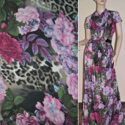 Шифон черный с розово-бордовыми цветами и леопардовыми пятнами ш.150