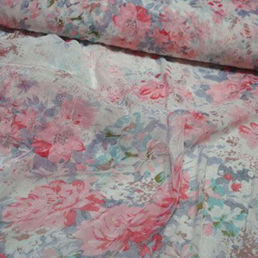 Шифон белый с розово-голубыми цветами блестящий ш.140