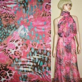 Шифон принт рожевий в коричневі і блакитні краплі ш.150