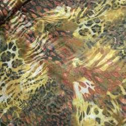 Шифон принт коричневый в коричневую зебру, красные капли ш.150
