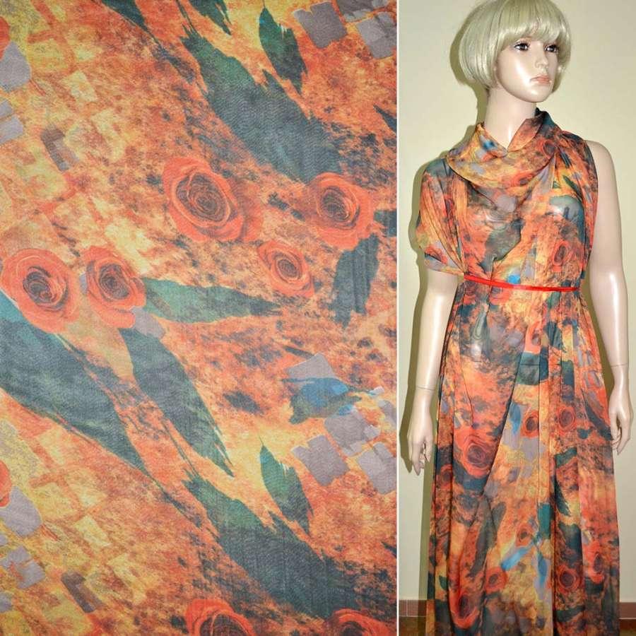 Шифон оранжево-серый с розами фотопечать ш.140